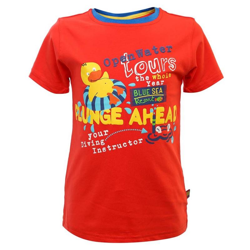 ФутболкаФутболкакрасногоцветаиз коллекции Ocean Guard марки Sweet Berry для мальчиков.<br>Футболка с коротким рукавом, выполненная из хлопка с добавлением эластана, декорированапринтом с надписями и забавным изображением уточки, а также украшена синей окантовкой на воротнике.<br><br>Размер: 18 месяцев<br>Цвет: Красный<br>Рост: 86<br>Пол: Для мальчика<br>Артикул: 686864<br>Бренд: Италия<br>Страна производитель: Китай<br>Сезон: Весна/Лето<br>Состав: 95% Хлопок, 5% Эластан