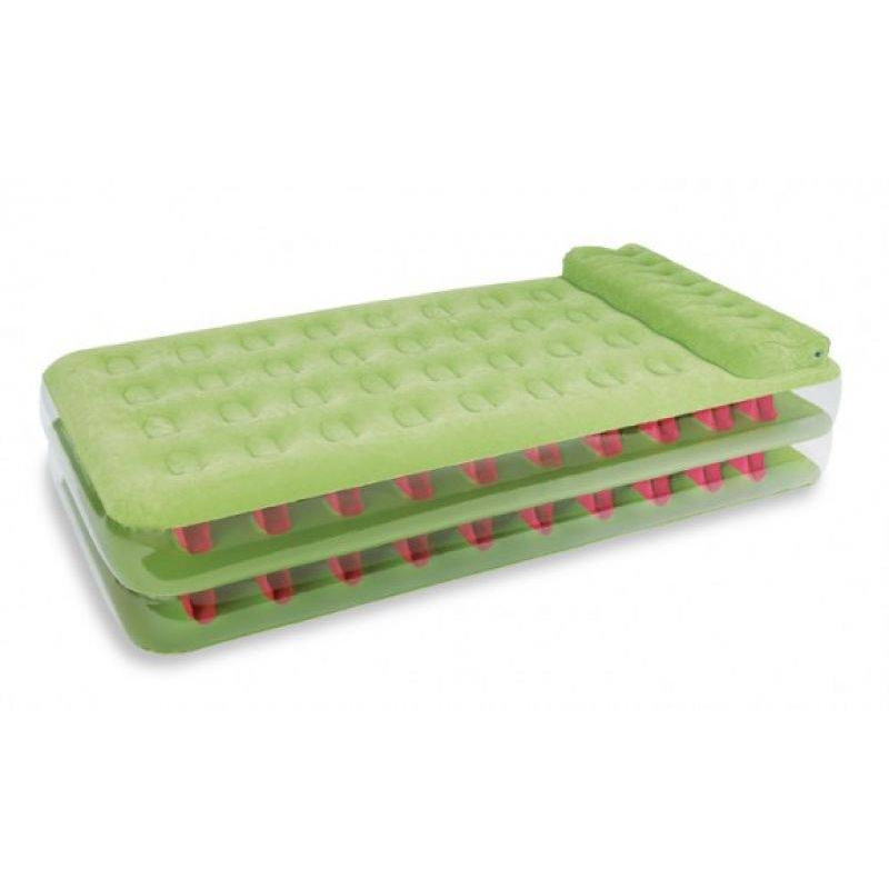 Надувной матрасНадувной матрас зелёногоцвета марки Intex.<br>Надувной матрас с подголовником изготовлен из современных и высококачественных материалов. Верхняя часть надувной кровати имеет флокированное покрытие, боковые стенки сделаны из прозрачного ПВХ.<br>В комплект входит внешний электрический насос 220В, который позволит накачать изделие за считанные минуты.<br>Размер упаковки: 33,5х15х40 см.Вес: 6,7 кг.<br><br>Цвет: Зеленый<br>Размер матраса: 99х191х47<br>Пол: Не указан<br>Артикул: 682458<br>Бренд: Китай<br>Размер: Без размера