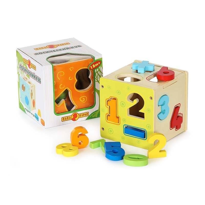 Развивающая игрушка Логический куб ЦифрыРазвивающая игрушка Логический куб. Цифры марки Папа Карло.<br>Логическая игрушка выполнена из дерева в виде куба с отверстиями различных форм в виде цифр. К каждому отверстию есть своя красочная деталь. Все элементы безопасны для ребенка, так как покрыты безвредной краской.<br>Размер: 15х15х15см.<br>Рекомендовано для детей от 18 месяцев.<br><br>Возраст от: 18 месяцев<br>Пол: Не указан<br>Артикул: 660148<br>Страна производитель: Россия<br>Бренд: Россия<br>Размер: от 18 месяцев