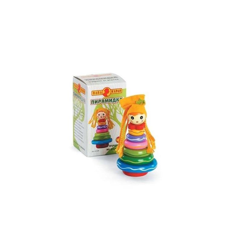 Пирамидка КуклаПирамидка Кукла марки Папа Карло для девочек.<br>Развивающая пирамидка - великолепная игрушка для Вашего малыша, которая поможет в его развитии. Модель состоит извосьми элементов и основы,составляющих пирамиду в виде милой куклы. Специальная форма колец позволит даже самым маленьким ручкам с удобством хватать колечки. Яркий и контрастный дизайн игрушки привлечет внимание маленькой крохи, и она не захочет с ней расставаться.<br>Размер: 10,2х10,2х18 см.<br>Рекомендовано для детей от 18 месяцев.<br><br>Возраст от: 18 месяцев<br>Пол: Для девочки<br>Артикул: 660150<br>Бренд: Россия<br>Страна производитель: Россия<br>Размер: от 18 месяцев