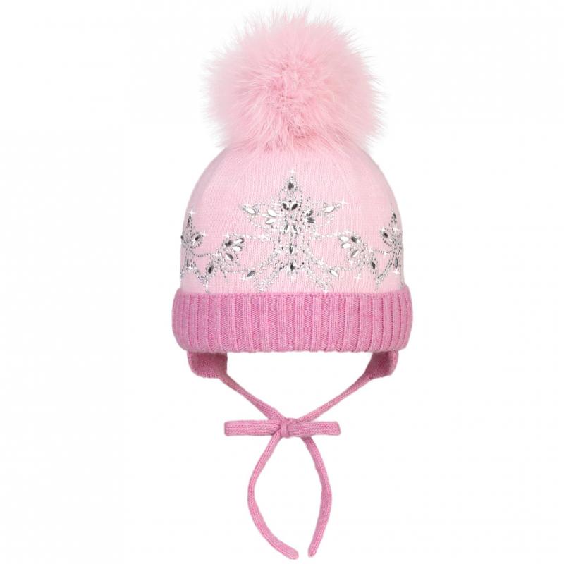 ШапкаШерстяная шапка розовогоцвета марки JACOTE для девочек. Теплая и мягкая шапка из шерстяного трикотажа с добавлением кашемира, вискозы и ангоры. Подкладка выполнена из стопроцентного хлопка. Шапка имеет удобные завязки и помпон из натурального меха (песец), украшена стразами.<br><br>Размер: 2 года<br>Цвет: Малиновый<br>Размер: 46-48<br>Пол: Для девочки<br>Артикул: 602967<br>Страна производитель: Россия<br>Сезон: Осень/Зима<br>Состав: 10% Кашемир, 40% Шерсть, 28% Вискоза, 7% Ангора, 15% Полиамид<br>Состав подкладки: 100% Хлопок<br>Бренд: Россия