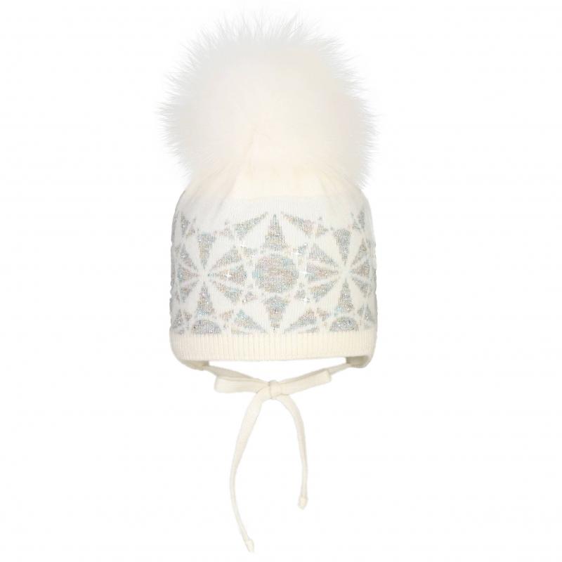 ШапкаШерстяная шапка белого цвета с помпоном марки JACOTE для девочек. Теплая мягкая шапка из шерстяного трикотажа с добавлением кашемира, ангоры и вискозы дополнена хлопковой подкладкой. Шапка украшена вязаным узором с люрексом и стразами, имеет удобные завязки. Помпон выполнен из натурального меха (песец).<br><br>Размер: 12 месяцев<br>Цвет: Белый<br>Размер: 44-46<br>Пол: Для девочки<br>Артикул: 602928<br>Бренд: Россия<br>Страна производитель: Россия<br>Сезон: Осень/Зима<br>Состав: 10% Кашемир, 40% Шерсть, 28% Вискоза, 7% Ангора, 15% Полиамид<br>Состав подкладки: 100% Хлопок