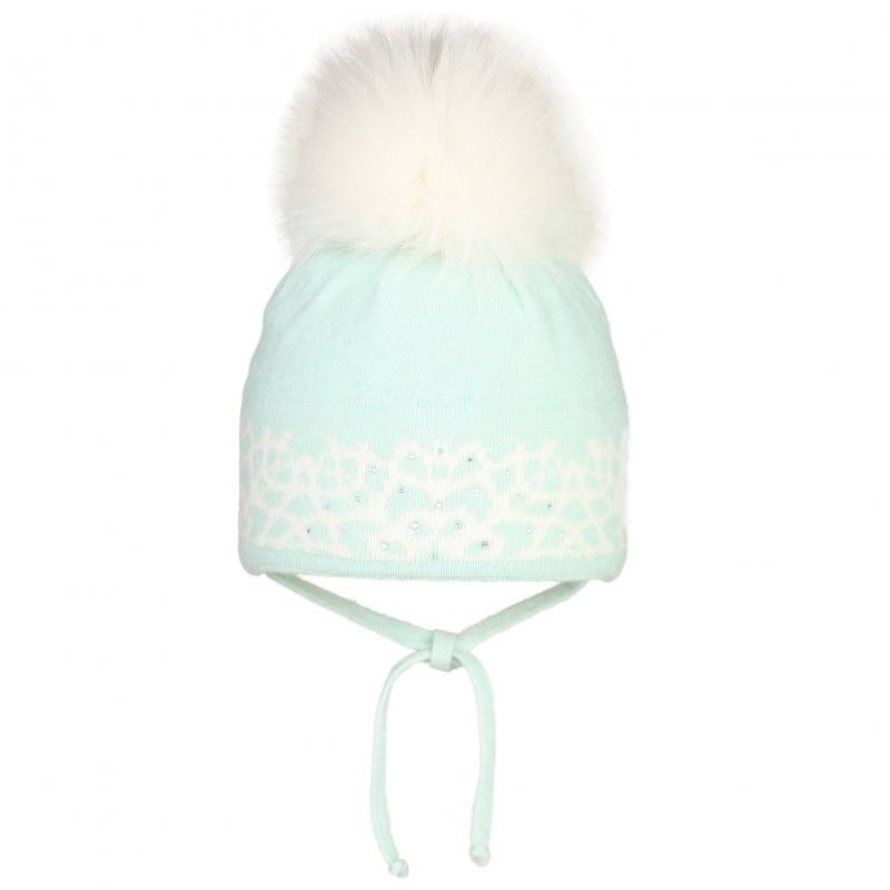 ШапкаШерстяная шапка бирюзового цвета с помпоном марки JACOTE для девочек. Теплая мягкая шапка из шерстяного трикотажа с добавлением кашемира, ангоры и вискозы дополнена хлопковой подкладкой. Шапка украшена белым вязаным узором и стразами, имеет удобные завязки. Помпон выполнен из натурального меха (песец).<br><br>Размер: 2 года<br>Цвет: Нефритовый<br>Размер: 46-48<br>Пол: Для девочки<br>Артикул: 602927<br>Страна производитель: Россия<br>Сезон: Осень/Зима<br>Состав: 10% Кашемир, 40% Шерсть, 28% Вискоза, 7% Ангора, 15% Полиамид<br>Состав подкладки: 100% Хлопок<br>Бренд: Россия