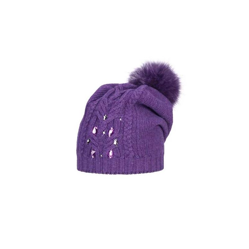 ШапкаФиолетоваяшерстяная шапка марки JACOTE для девочек. Теплая мягкая шапка узорной вязки выполнена из шерстяного трикотажа с добавлением кашемира, ангоры и вискозы. Шапка украшена крупными стразами и помпоном из натурального меха (песец).<br><br>Размер: 5 лет<br>Цвет: Фиолетовый<br>Размер: 52-54<br>Пол: Для девочки<br>Артикул: 603464<br>Бренд: Россия<br>Страна производитель: Россия<br>Сезон: Осень/Зима<br>Состав: 10% Кашемир, 40% Шерсть, 28% Вискоза, 7% Ангора, 15% Полиамид