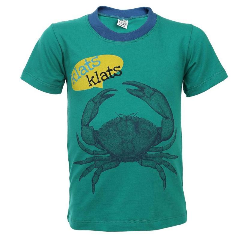 ФутболкаФутболка зеленогоцвета марки Flobaby для мальчиков.<br>Яркая футболкас коротким рукавом,выполненная из хлопка с добавлением лайкры, декорирована принтом с изображением краба, а также подчеркнута окантовкой синего цвета. Модель дополнит летний образ ребенка.<br><br>Размер: 6 лет<br>Цвет: Зеленый<br>Рост: 116<br>Пол: Для мальчика<br>Артикул: 702577<br>Бренд: Россия<br>Страна производитель: Россия<br>Сезон: Весна/Лето<br>Состав: 95% Хлопок, 5% Лайкра