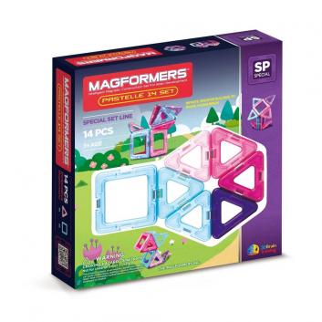 Игрушки, Магнитный конструктор Pastelle 14 set MAGFORMERS 658889, фото