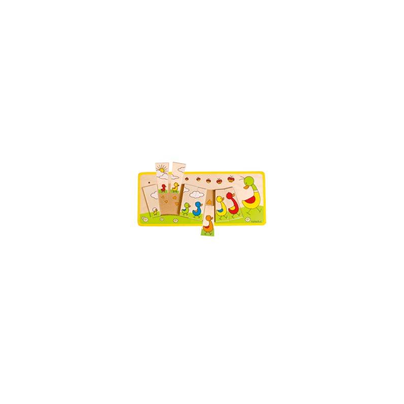 Развивающий пазл Утиная семейка 8 деталейРазвивающий пазл Утиная семейка 8 деталей марки Beleduc.<br>С помощьюмногослойногопазла можно создатькрасочнуюкартинку с уточками. Пазл способствует развитиюлогического мышления и мелкой моторики, научит ребенка считать и сравнивать предметы по величине.<br>Прямоугольный деревянный пазл включает 8 частейи рамку.<br>Материал: береза.<br>Размер: 37,5х16х1,6см.<br><br>Возраст от: 3 года<br>Пол: Не указан<br>Артикул: 657201<br>Страна производитель: Китай<br>Бренд: Германия<br>Размер: от 3 лет<br>Материал: Дерево<br>Количество деталей: до 50<br>Тематика: Обучающие