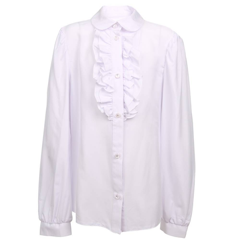 БлузкаБлузка белого цвета модели Б003 марки Смена для девочек.<br>Классическая блузка с длинным рукавом выполнена из приятной на ощупь ткани с добавлением вискозы. Модель с отложным воротничком декорирована рюшами и застегивается на удобные пуговицы.<br>Блузка отлично дополнит школьный образ.<br><br>Размер: 12 лет<br>Цвет: Белый<br>Размер: 152/72<br>Пол: Для девочки<br>Артикул: 702876<br>Бренд: Россия<br>Страна производитель: Россия<br>Сезон: Всесезонный<br>Состав: 76% Вискоза, 24% Полиэстер<br>Вид застежки: Пуговицы