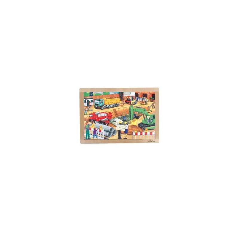 Развивающий пазл Стройка 24 деталиРазвивающий пазл Стройка24 деталимарки Beleduc.<br>Красочный пазл состоит из множества элементов с помощью которых собирается картинка строительной площадки. В процессе игры ребенок развивает логическое мышление, речь и мелкую моторику, а такжезнакомится с техникой.<br>Прямоугольный деревянный пазл включает 8 частейи рамку.<br>Материал: береза.<br>Размер:40,5х28,3х0,8см.<br><br>Возраст от: 3 года<br>Пол: Для мальчика<br>Артикул: 657203<br>Страна производитель: Китай<br>Бренд: Германия<br>Размер: от 3 лет<br>Материал: Дерево<br>Количество деталей: до 50<br>Тематика: Обучающие