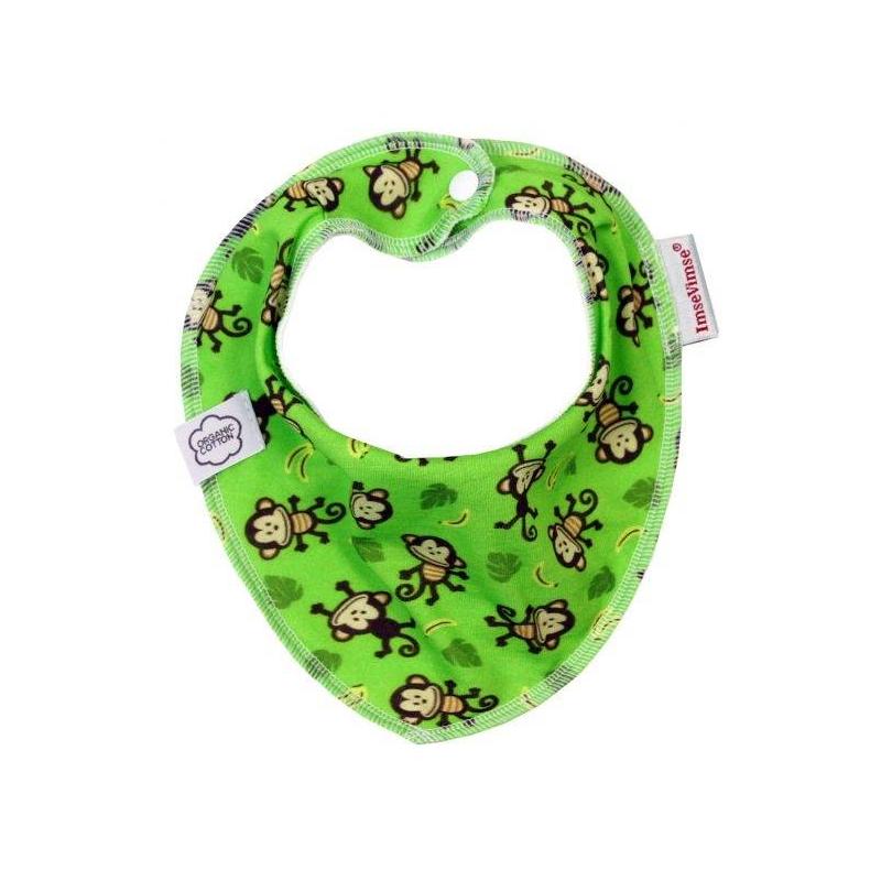 Нагрудник Bandana Green MonkeyНагрудник Bandana Green Monkey зеленогоцвета маркиImseVimse для мальчиков.<br>Трехслойные многоразовые нагрудники очень удобны и практичны в использовании. Мягкий верхний трикотажный слой изготовлен из органического хлопка, который не позволяет жидкости стекать на одежду, средний слой из махры также из органического хлопка прекрасно впитывает, непромокаемый флисовый слой с внутренней стороны гарантирует дополнительную защиту и комфорт, а также не дает нагруднику скользить и сбиваться.<br>Модель декорирована принтом с изображением забавных мартышек.<br>Состав:внешний слой – 100% органический хлопок, средний слой – махровый 100% органический хлопок, нижний – полиэстер флис.<br><br>Цвет: Зеленый<br>Возраст от: 1 месяц<br>Пол: Для мальчика<br>Артикул: 657238<br>Бренд: Швеция<br>Страна производитель: Латвия<br>Размер: от 1 месяца