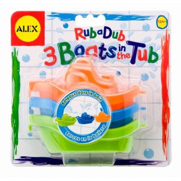 Игрушки для ванны 3 цветные лодочки