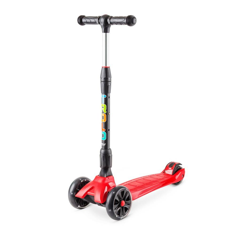 Самокат Rapid со светящимися колесамиСамокат Rapid со светящимися колесами красного цвета марки Trolo.<br>Технические характеристики:<br>- Рекомендуемый рост: от 100 см;- Рама: пластик;- Размер колес: передние 135 мм, задние- 90 мм;- Шины: Полиуретан PU 88A;- Класс подшипников: ABEC 7;- Тормоза передние: нет; - Тормоза задние: фрикционный ножной (крыло); - Грипсы: резиновые со стопорами;- Ширина руля: 270 мм; - Высота ручки: от 670 мм до 900 мм; - Длина платформы для ноги: 340 мм; - Длина самоката: 615 мм; - Ширина платформы: 130 мм; - Максимальная нагрузка: 50 кг; - Вес: 3,66 кг; - Вес с упаковкой: 4,3 кг; - Ремень для переноски: нет;- Объем: 0,03 м3;- Подшипник: APEC 7.<br><br>Цвет: Красный<br>Возраст от: 4 года<br>Пол: Не указан<br>Артикул: 677347<br>Бренд: Россия<br>Страна производитель: Китай<br>Размер: от 4 лет<br>Тип колес: Светящиеся<br>Количество колес: 3<br>Тип самоката: Городской<br>Тормоз: Ножной<br>С амортизаторами: Нет<br>Складной: Да