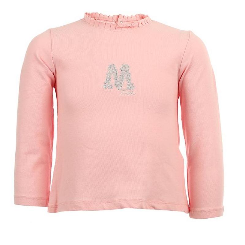 ФутболкаРозовая футболка с длинным рукавом марки MAYORAL для девочек. Футболка из мягкого хлопкового трикотажа с небольшим добавлением эластана украшена рюшей и ворота и блестящей вышивкой на груди, застегивается на две кнопки на спинке.<br><br>Размер: 9 месяцев<br>Цвет: Розовый<br>Рост: 74<br>Пол: Для девочки<br>Артикул: 603004<br>Страна производитель: Китай<br>Сезон: Всесезонный<br>Состав: 95% Хлопок, 5% Эластан<br>Бренд: Испания<br>Вид застежки: Кнопки<br>Рукава: Длинные, без манжет