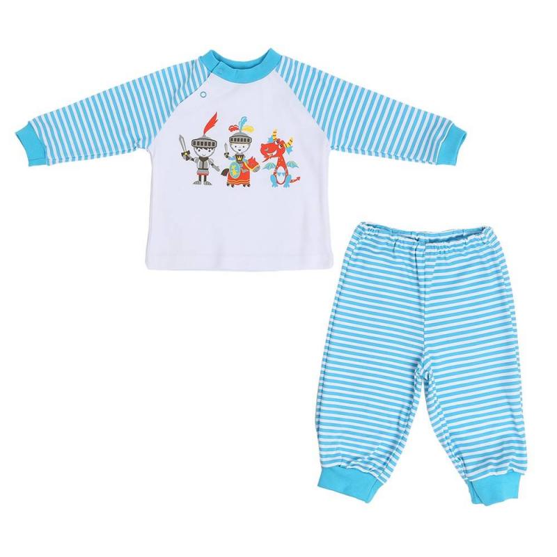 ПижамаПижама голубого цветамарки КотМарКот для мальчиков.<br>Пижама, выполненная из чистого хлопка, включает в себя футболку с длинным рукавом и брюки. Футболка декорирована изображениемсмелых рыцарей и дракона.Брюки с эластичной резинкой на поясе имеют манжеты. Комплект украшенпринтом в белую полоску.<br>Моделис размерным рядом 6 месяцев, 9 месяцев, 12месяцев, 18месяцев дополнены кнопками на плече для удобства переодевания малыша.<br><br>Размер: 12 месяцев<br>Цвет: Голубой<br>Рост: 80<br>Пол: Для мальчика<br>Артикул: 699163<br>Страна производитель: Россия<br>Сезон: Всесезонный<br>Состав: 100% Хлопок<br>Бренд: Россия<br>Вид застежки: Кнопки