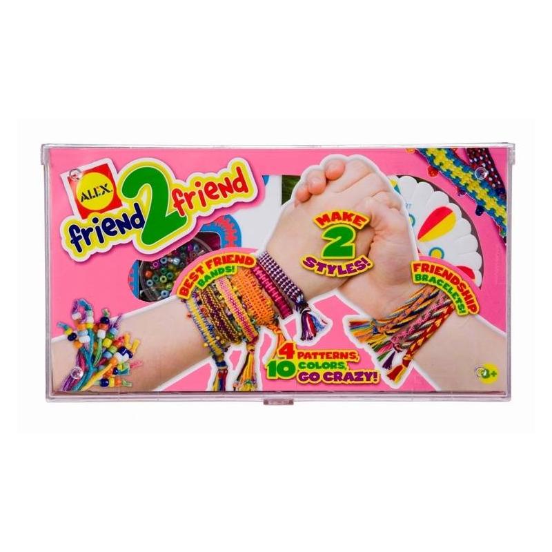 Набор для плетения браслетов Для другаНабор для плетения браслетов Для друга марки ALEX для девочек.<br>Набор для плетения браслетов-фенечек, которые так любят юные модницы. У девочек будет возможность сплести несколько браслетов 2-х разных стилей по 4 шаблонам, для себя и своих подруг.<br>В набор входят: 2 станка со схемами плетения, нитки мулине (10 цветов), бисер для украшения браслетов, игла для бисера и простая инструкция.<br><br>Возраст от: 8 лет<br>Пол: Для девочки<br>Артикул: 698066<br>Страна производитель: Китай<br>Бренд: США<br>Размер: от 8 лет