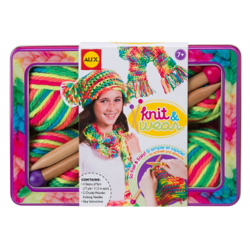 Творчество, Набор для вязания Разноцветные шарф и шапочка ALEX , фото
