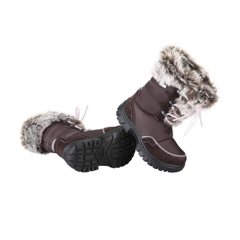 СапогиСапогикоричневого цвета марки REIMA, серии REIMA TEC для девочек. Водонепроницаемые сапогибез застежек, регулируются шнуровкой. Верх выполнен из натуральной замши и текстиля, подкладка - из искусственного меха. Подошва из полиуретана обладает теплоизолирующими свойствами. Есть светоотражающие детали.<br><br>Размер: 33<br>Цвет: Коричневый<br>Пол: Для девочки<br>Артикул: 607305<br>Страна производитель: Китай<br>Сезон: Осень/Зима<br>Материал верха: Текстиль / Нат. кожа<br>Материал подкладки: Текстиль<br>Материал стельки: Текстиль<br>Материал подошвы: Полиуретан<br>Бренд: Финляндия<br>Температура: от 0° до -20°