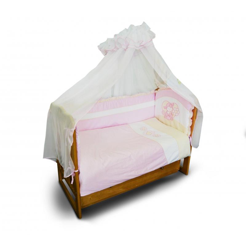 Комплект 7 пр.Комплект постельных принадлежностей из семипредметов розовогоцвета марки Soni Kids для малышей. В комплект входят:<br>-одеяло 110х140см<br>-подушка 40х60см<br>-бортик 360х40см<br>-балдахин 420х165см<br>-пододеяльник 110х140см<br>-наволочка 40х60см<br>-простынка на резинке 90х150см.<br>Все предметы выполнены из натурального хлопка (бязь и сатин), наполнитель - холлофайбер, современный экологически чистый гипоаллергенный материал. Балдахин сшит из полупрозрачной вуали (полиэстер). Комплект упакован в удобную сумку с ручкой.<br><br>Цвет: Розовый<br>Пол: Для девочки<br>Артикул: 607200<br>Бренд: Россия<br>Страна производитель: Россия<br>Сезон: Всесезонный<br>Состав: 100% Хлопок<br>Наполнитель: Холлофайбер<br>Размер: Без размера