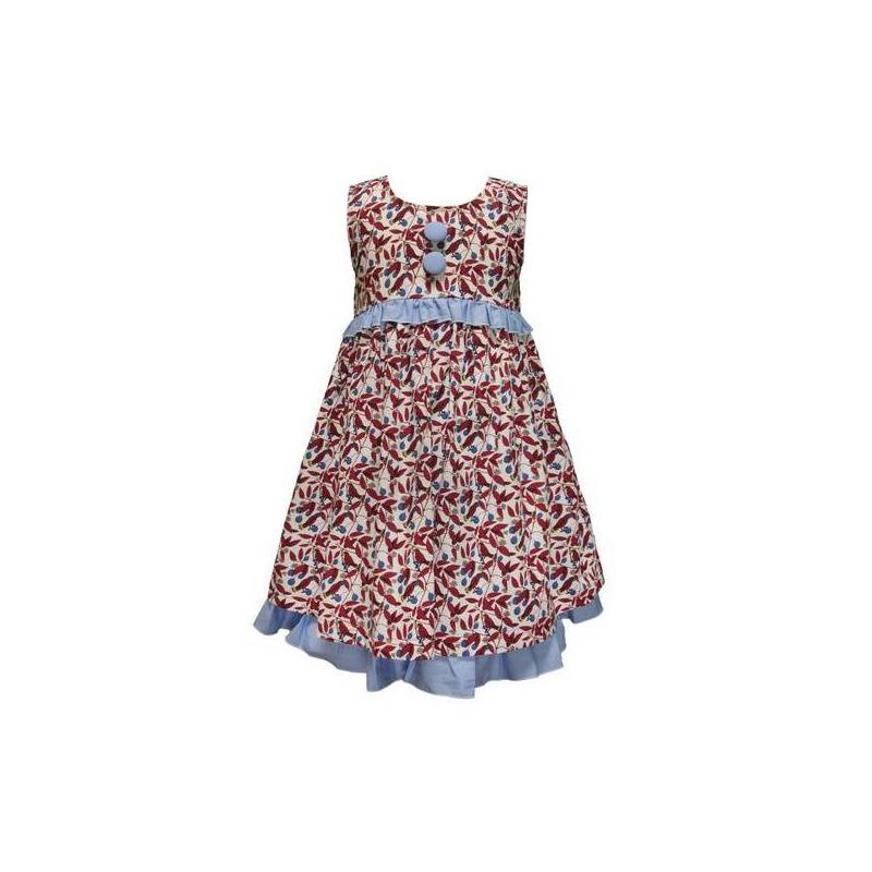 ПлатьеПлатье без рукавов с принтом красного цвета марки LP Collection. Платье выполнено из натурального хлопка, юбка на подкладке. Платье украшено декоративными пуговицами и рюшей голубого цвета, сзади пояс завязывается бантом. Платье застегивается на пуговицы на спинке.<br><br>Размер: 4 года<br>Цвет: Красный<br>Рост: 104<br>Пол: Для девочки<br>Артикул: 607388<br>Страна производитель: Таиланд<br>Сезон: Весна/Лето<br>Состав: 100% Хлопок<br>Бренд: Таиланд<br>Вид застежки: Пуговицы