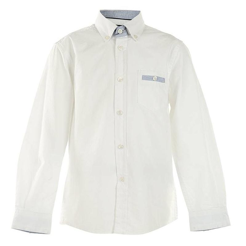 РубашкаБелая рубашка марки MAYORAL для мальчиков. Рубашка из плотной хлопковой ткани с мелким рельефным узором имеет один нагрудный карман и воротник на пуговицах. Воротник, манжеты и карман декорированы тканью в голубую полоску.<br><br>Размер: 6 лет<br>Цвет: Белый<br>Рост: 116<br>Пол: Для мальчика<br>Артикул: 601543<br>Страна производитель: Индия<br>Сезон: Всесезонный<br>Состав: 100% Хлопок<br>Бренд: Испания<br>Вид застежки: Пуговицы<br>Рукава: Длинные, манжеты
