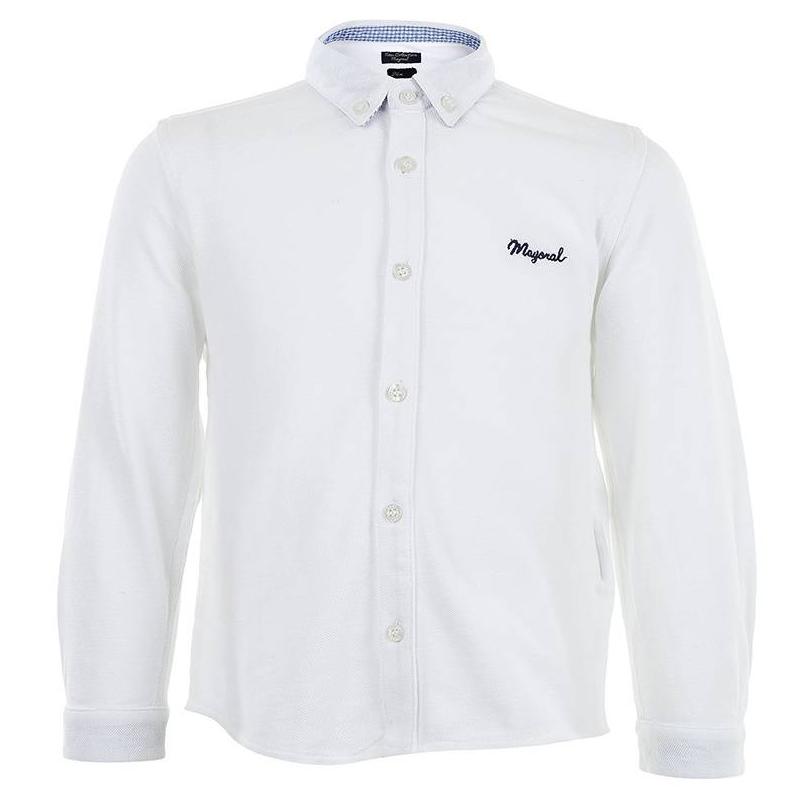 РубашкаБелая рубашка марки MAYORAL для мальчиков. Рубашка из хлопчатобумажного трикотажа пике. Горловина и манжеты с внутренней стороны отделаны хлопковой тесьмой в мелкую голубую клеточку. Уголки воротника на пуговицах.<br><br>Размер: 2 года<br>Цвет: Белый<br>Рост: 92<br>Пол: Для мальчика<br>Артикул: 601664<br>Бренд: Испания<br>Страна производитель: Индия<br>Сезон: Всесезонный<br>Состав: 100% Хлопок<br>Вид застежки: Пуговицы<br>Рукава: Длинные, манжеты
