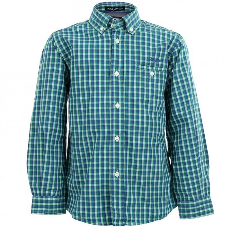 РубашкаРубашка в клетку марки MAYORAL для мальчиков.Рубашка из стопроцентного хлопка в зелено-синюю клетку с одним нагрудным карманом и воротничком на пуговицах. Внутренние детали манжетов, воротника и кармана выполнены из синей ткани имитирующей деним. Рубашка украшена вышитым логотипом над карманом.<br><br>Размер: 6 лет<br>Цвет: Зеленый<br>Рост: 116<br>Пол: Для мальчика<br>Артикул: 603296<br>Страна производитель: Индия<br>Сезон: Всесезонный<br>Состав: 100% Хлопок<br>Бренд: Испания<br>Вид застежки: Пуговицы<br>Рукава: Длинные, манжеты