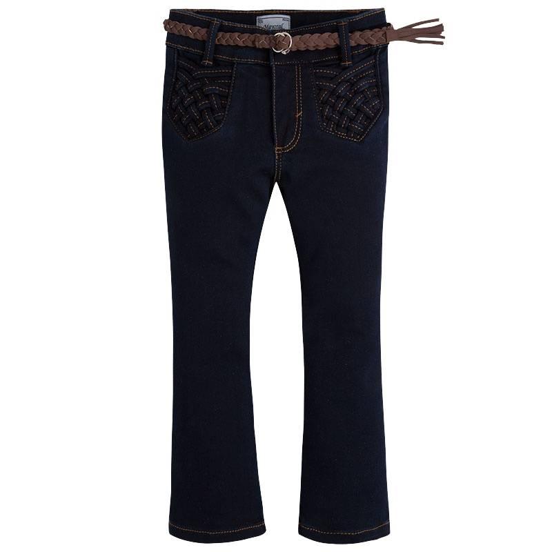 БрюкиБрюки темно-синегоцвета марки Mayoral для девочек.<br>Однотонные брюки-клеш, выполненные из приятной на ощупь ткани с добавлением хлопка, застегиваются на молнию идополнены задними карманами, а также регулируемой размер резинкой. К брюкам в комплекте идет стильный пояс. Модель дополнит и подчеркнет повседневный образ ребенка.<br><br>Размер: 3 года<br>Цвет: Темносиний<br>Рост: 98<br>Пол: Для девочки<br>Артикул: 710107<br>Страна производитель: Индия<br>Сезон: Осень/Зима<br>Состав: 58% Хлопок, 39% Полиэстер, 3% Эластан<br>Бренд: Испания