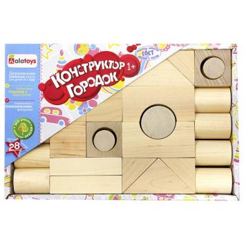 Игрушки, Конструктор Городок неокрашенный 28 деталей Alatoys 659237, фото
