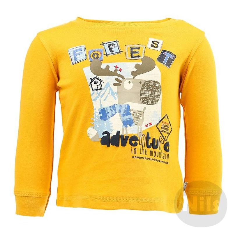 ФутболкаЖелтая футболка с длинным рукавом марки BLUE SEVEN для мальчиков. Футболка из стопроцентного хлопкового трикотажа украшена принтом с лосем, застегивается на две кнопки на плече. На рукавах эластичные манжеты.<br><br>Размер: 3 месяца<br>Цвет: Желтый<br>Рост: 62<br>Пол: Для мальчика<br>Артикул: 604213<br>Бренд: Германия<br>Страна производитель: Бангладеш<br>Сезон: Всесезонный<br>Состав: 100% Хлопок<br>Вид застежки: Кнопки<br>Рукава: Длинные, манжеты