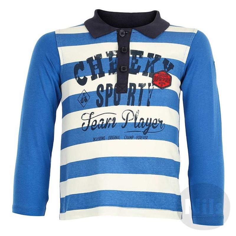 Рубашка-полоРубашка-поло синего цвета марки BLUE SEVEN для мальчиков. Полосатая рубашка-поло с длинным рукавом выполнена из стопроцентного хлопкового трикотажа, украшена принтом и нашивками. Застегивается на три пуговицы у ворота.<br><br>Размер: 9 месяцев<br>Цвет: Синий<br>Рост: 74<br>Пол: Для мальчика<br>Артикул: 604562<br>Бренд: Германия<br>Страна производитель: Бангладеш<br>Сезон: Всесезонный<br>Состав: 100% Хлопок<br>Вид застежки: Пуговицы<br>Рукава: Длинные, без манжет