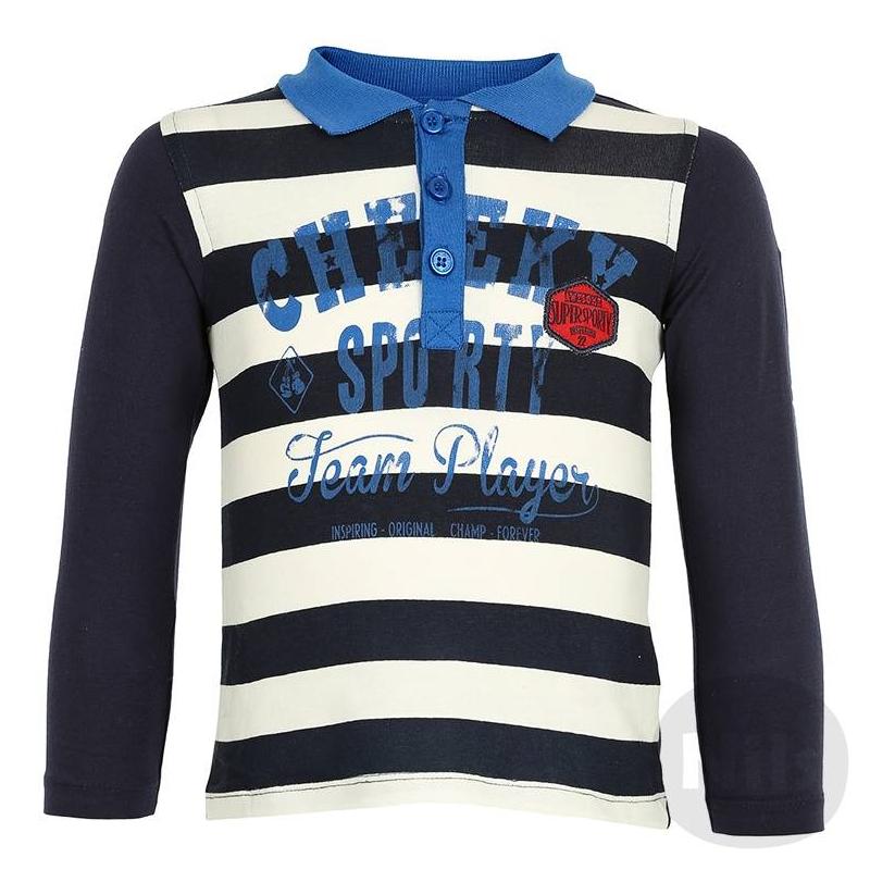 Рубашка-полоРубашка-поло темно-синего цвета марки BLUE SEVEN для мальчиков. Полосатая рубашка-поло с длинным рукавом выполнена из стопроцентного хлопкового трикотажа, украшена принтом и нашивками. Застегивается на три пуговицы у ворота.<br><br>Размер: 9 месяцев<br>Цвет: Темносиний<br>Рост: 74<br>Пол: Для мальчика<br>Артикул: 604567<br>Бренд: Германия<br>Страна производитель: Бангладеш<br>Сезон: Всесезонный<br>Состав: 100% Хлопок<br>Вид застежки: Пуговицы<br>Рукава: Длинные, без манжет