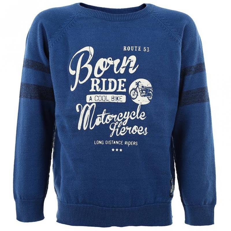 СвитерСиний свитер с принтом марки BLUE SEVEN для мальчиков. Хлопковый свитер с круглым воротом и рукавами реглан имеет декоративные швы наружу, украшен полосками на рукавах, а также принтом и нашивкой с мотоциклетной тематикой.<br><br>Размер: 3 года<br>Цвет: Синий<br>Рост: 98<br>Пол: Для мальчика<br>Артикул: 602558<br>Бренд: Германия<br>Страна производитель: Бангладеш<br>Сезон: Всесезонный<br>Состав: 100% Хлопок