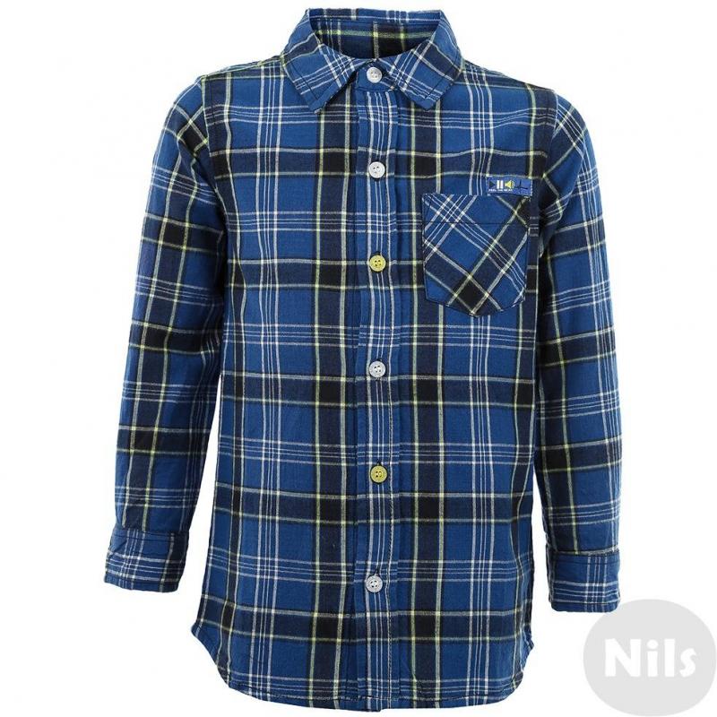 РубашкаСиняя фланелевая рубашка в клетку марки BLUE SEVEN для мальчиков. Рубашка в желто-синюю клетку классического кроя с нагрудным карманом и отложным воротничком, застегивается на пуговицы (белые и желтые). Украшена стильным принтом на спине и нашивкой над карманом.<br><br>Размер: 6 лет<br>Цвет: Синий<br>Рост: 116<br>Пол: Для мальчика<br>Артикул: 602828<br>Страна производитель: Индия<br>Сезон: Всесезонный<br>Состав: 100% Хлопок<br>Бренд: Германия<br>Вид застежки: Пуговицы