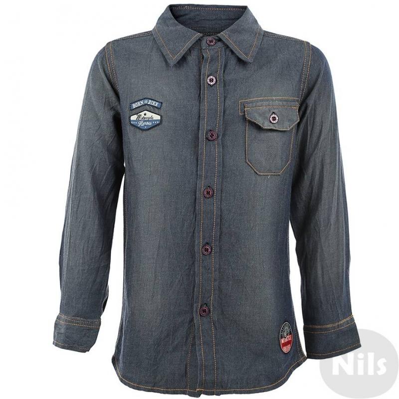 РубашкаРубашка голубая марки BLUE SEVEN для мальчиков. Стильная рубашка из хлопковой ткани, напоминающей деним, с желтой отстрочкой и нагрудным карманом, застегивается на пуговицы. Спинка сделана из серого меланжевого трикотажа и украшена принтом с мотоциклом. Перед рубашки украшают нашивки с мотоциклетной тематикой.<br><br>Размер: 4 года<br>Цвет: Синий<br>Рост: 104<br>Пол: Для мальчика<br>Артикул: 602833<br>Бренд: Германия<br>Страна производитель: Индия<br>Сезон: Всесезонный<br>Состав: 100% Хлопок<br>Вид застежки: Пуговицы