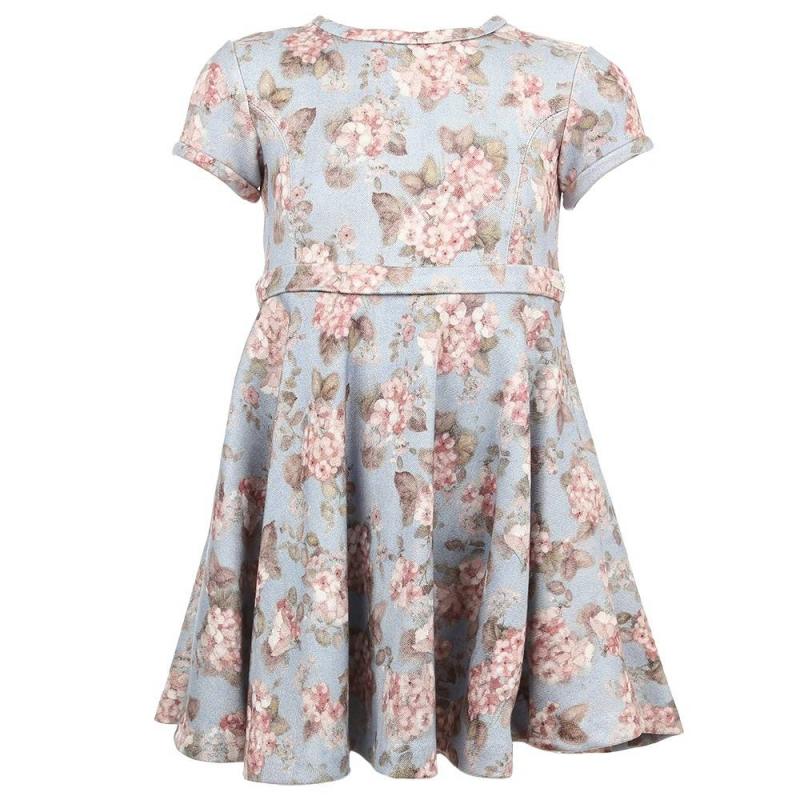 ПлатьеПлатье голубого цвета марки Mayoral.<br>Модноеплатье с коротким рукавом выполнено из плотного,приятного на ощупь материала с добавлением вискозы. Модель с расклешённой юбочкой украшена нежным цветочным принтом и дополнена пояскомс кнопками.<br>Платье, застёгивающееся на потайную молнию, выгодно подчеркнёт повседневный образ ребенка.<br><br>Размер: 5 лет<br>Цвет: Голубой<br>Рост: 110<br>Пол: Для девочки<br>Артикул: 710486<br>Бренд: Испания<br>Страна производитель: Марокко<br>Сезон: Осень/Зима<br>Состав: 68% Вискоза, 30% Полиэстер, 2% Эластан<br>Вид застежки: Молния
