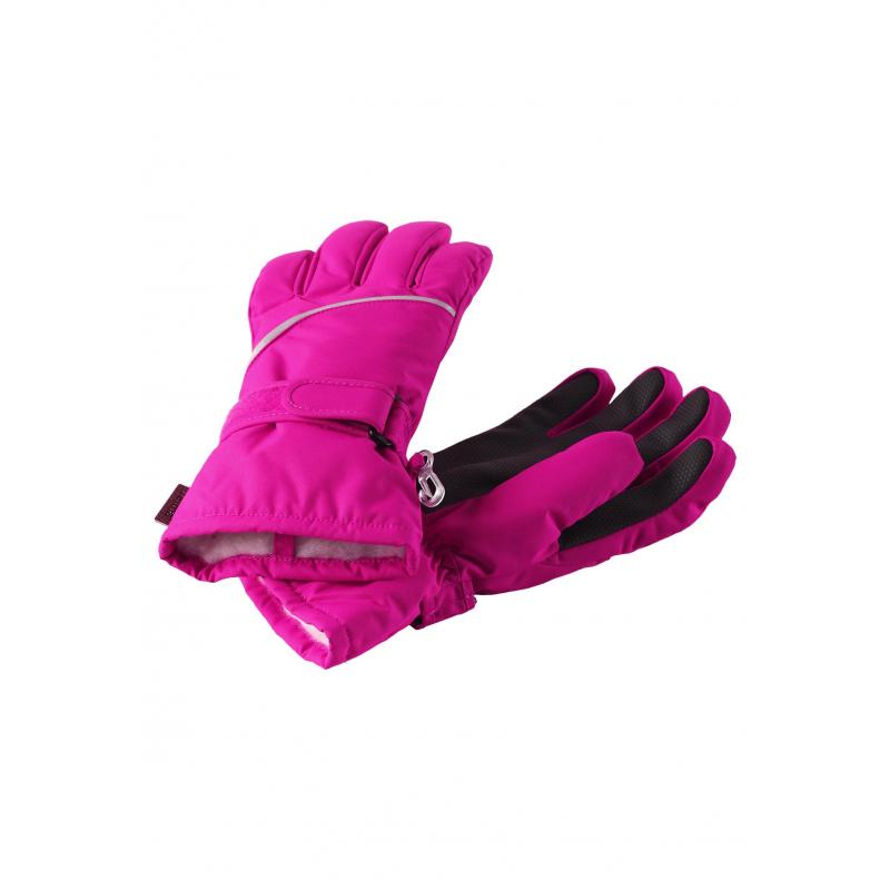 ПерчаткиПерчаткималиновогоцвета марки REIMA для девочек.<br>Зимние перчатки выполнены из водонепроницаемого материала и декорированы вставкой черного цвета. Модель дополнена подкладкой с добавлением шерсти, а также регулируемой застежкой на липучке.<br>Светоотражающие элементы обеспечивают безопасность ребенка в темное время суток.<br><br>Цвет: Малиновый<br>Размер перчаток: 17<br>Пол: Для девочки<br>Артикул: 805689<br>Бренд: Финляндия<br>Страна производитель: Китай<br>Сезон: Осень/Зима<br>Состав: 100% Полиэстер<br>Состав подкладки: 47% Полиэстер, 29% Шерсть, 21% Акрил, 3% Полиамид<br>Наполнитель: 100% Полиэстер<br>Покрытие: Полиуретан<br>Температура: до -30°<br>Вес утеплителя: 80 г<br>Тип: Зима<br>Серия: Reima<br>Размер: Без размера