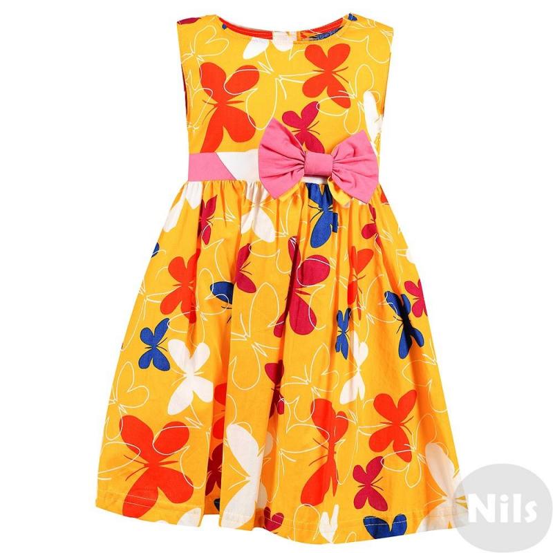 ПлатьеПлатье без рукавов желтогоцвета марки LP Collection. Платье выполнено из хлопковой ткани с принтом с бабочками, юбка на подкладке. Пояс украшен бантами, завязывается сзади. Платье застегивается на пуговицы на спинке.<br><br>Размер: 4 года<br>Цвет: Желтый<br>Рост: 104<br>Пол: Для девочки<br>Артикул: 702329<br>Страна производитель: Таиланд<br>Сезон: Весна/Лето<br>Состав: 100% Хлопок<br>Бренд: Таиланд<br>Вид застежки: Пуговицы