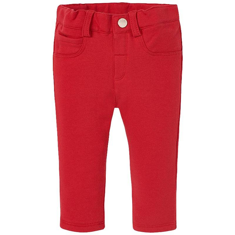 БрюкиБрюки красного цвета марки Mayoral для девочек.<br>Стильные эластичныебрючки, выполненные из хлопка, застёгиваются на кнопку. Однотонная модель дополнена шлёвками для ремня, регулируемой кулиской на талии, а также декоративными и функциональными кармашками.<br><br>Размер: 9 месяцев<br>Цвет: Красный<br>Рост: 74<br>Пол: Для девочки<br>Артикул: 805927<br>Бренд: Испания<br>Страна производитель: Китай<br>Сезон: Весна/Лето<br>Состав: 57% Хлопок, 38% Полиэстер, 5% Эластан<br>Вид застежки: Кнопки