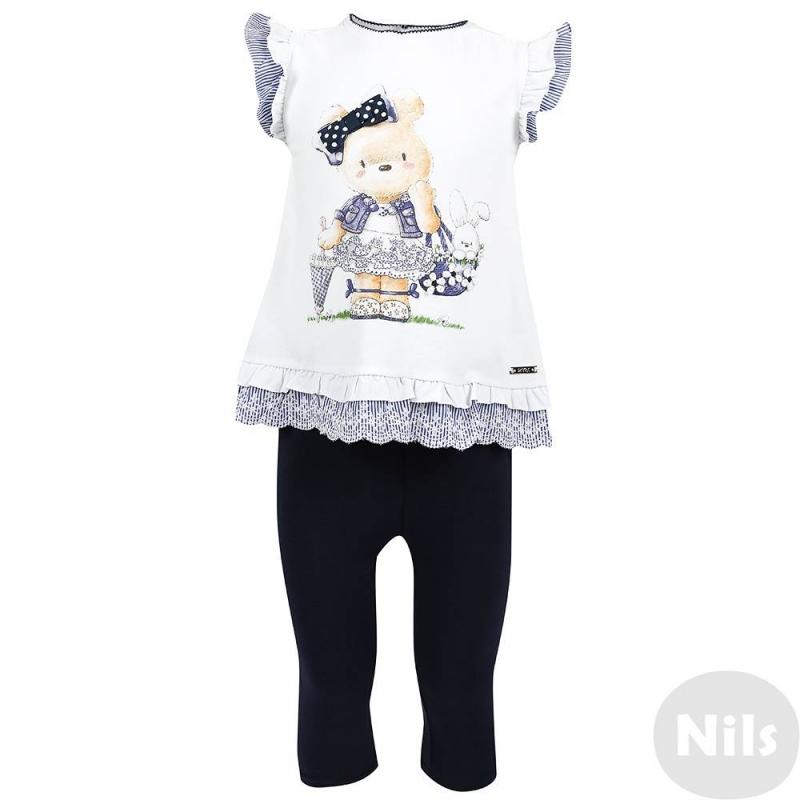 КомплектКомплект из футболки и леггинсов темно-синего цвета марки MAYORAL для девочек. Комплект выполнен из мягкого хлопкового трикотажа. Футболка-платье украшена принтом и отделкой с рюшами, застегивается на две кнопки на спинке. Леггинсы имеют удобный пояс на эластичной резинке.<br><br>Размер: 18 месяцев<br>Цвет: Темносиний<br>Рост: 86<br>Пол: Для девочки<br>Артикул: 607567<br>Страна производитель: Китай<br>Сезон: Весна/Лето<br>Состав верха: 95% Хлопок, 5% Эластан<br>Состав низа: 95% Хлопок, 5% Эластан<br>Бренд: Испания<br>Вид застежки: Кнопки