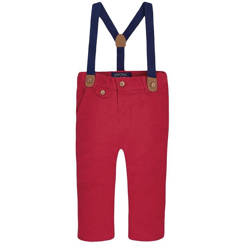БрюкиБрюки красногоцвета марки Мayoral длямальчиков.<br>Яркие брюки, выполненные из натурального хлопка,украшены декоративными пуговицами. Модель дополнена темно-синими отстегивающимися подтяжками, передними и задними карманами, а такжеимеет тонкий слой утеплителя.<br><br>Размер: 2 года<br>Цвет: Красный<br>Рост: 92<br>Пол: Для мальчика<br>Артикул: 900582<br>Бренд: Испания<br>Страна производитель: Китай<br>Сезон: Осень/Зима<br>Состав: 100% Хлопок<br>Состав подкладки: 100% Хлопок<br>Вид застежки: Пуговицы<br>Наполнитель: 100% Полиэстер