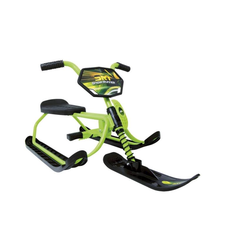 Снегокат SnowRunner SR1 kiwiСнегокатSnowRunner SR1 kiwiзеленого цвета марки Snow Moto для мальчиков.<br>Красивый и надежный снегокат с глянцевым покрытием рамы непременно станет любимым зимним видом спорта ребенка.Благодаря облегченной стали с алюминием снегокат на карвинговых лыжах весит всего 4 кг, при этом выдерживая максимальную нагрузку весом 40 кг. Среди особенностей снегоката можно выделить наличие стального амортизатора на передней вилке, мягкие резиновые ручки, а также надежный стальной тормоз. Сиденье с небольшой спинкой легко регулируется, а шнур с рукояткой быстро и несложно скрывается на передней вилке рамы. Карвинговые лыжи позволяют кататься по любым поверхностям: по снежному или обледенелому склону.<br>Размер:- размер коробки:19х88х42 см;- размер модели:112х48х46 см.<br>Вес:- вес в коробке: 5кг;- вес модели: 4кг.<br><br>Цвет: Зеленый<br>Возраст от: 6 лет<br>Пол: Для мальчика<br>Артикул: 650912<br>Бренд: Канада<br>Размер: от 6 лет