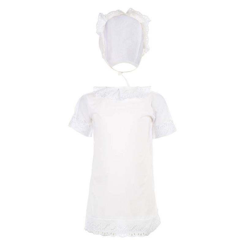 КомплектКомплект для крещения марки Трон-плюсбелого цвета.<br>В комплект входит:<br>- рубашечка с короткими рукавами и изящным кружевным воротничком. Края рукавов и низ отделаны кружевами;<br>- чепчик, обрамленный кружевами;<br>- нарядная пеленка размером 90х90 см.<br><br>Размер: 3 месяца<br>Цвет: Белый<br>Размер: 62<br>Пол: Не указан<br>Артикул: 000973<br>Страна производитель: Россия<br>Сезон: Всесезонный<br>Состав: 100% Хлопок