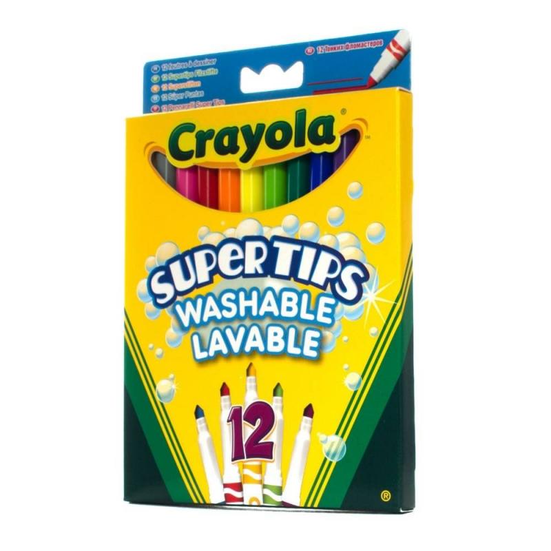 Crayola 12 тонких фломастеров Супертипс crayola llc crayola oil pastels 28 color set set of 12