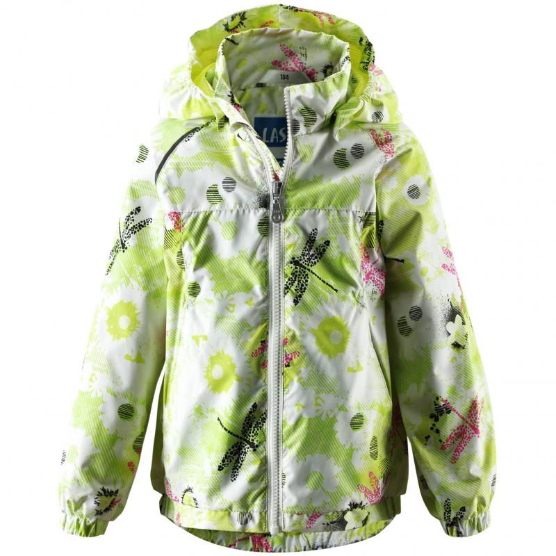 КурткаДемисезоннаякуртка салатовогоцвета марки LASSIE by REIMAдля девочек. Куртка из водо- и грязеотталкивающего материала с водонепроницаемой мембраной. Куртка хорошозащищает от ветра. Без утеплителя. Подкладка выполнена из дышащей mesh-сетки. Слегка удлиненная спинка, низприсобран на резинке. Естьсъемный капюшон на кнопках, два кармана на липучкахи светоотражающие детали.<br><br>Размер: 4 года<br>Цвет: Салатовый<br>Рост: 104<br>Пол: Для девочки<br>Артикул: 608935<br>Бренд: Финляндия<br>Страна производитель: Китай<br>Сезон: Весна/Лето<br>Состав: 100% Полиэстер<br>Состав подкладки: 100% Полиэстер<br>Покрытие: Полиуретан