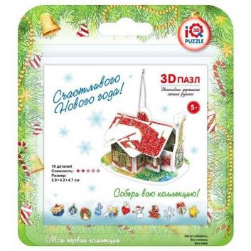 Игрушки, 3D-пазл Рождественский дом 10 деталей IQ Puzzle , фото