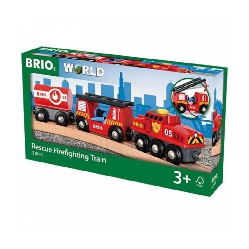 BRIO Пожарный поезд  brio локомотив и грузовые вагоны с животными