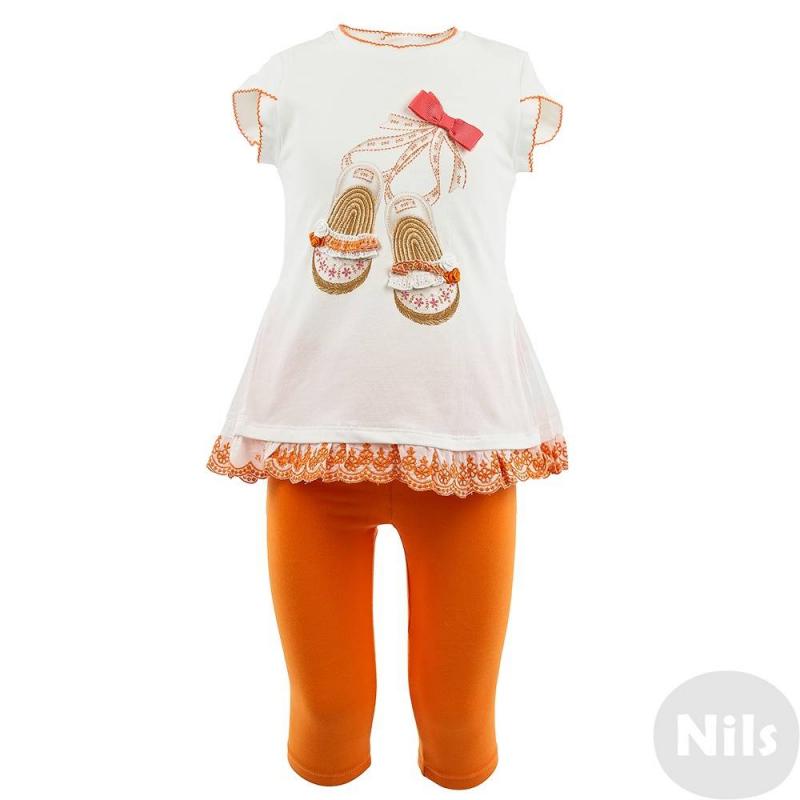 КомплектКомплект для девочек футбока + леггинсы марки Mayoral. Комплект выполнен из мягкого хлопкового трикотажа. Оранжевые леггнсы имеют удобный пояс на эластичной резинке. Футболка украшена принтом, вышивкой и бантиком, по низу - кружевными рюшами.<br><br>Размер: 9 месяцев<br>Цвет: Оранжевый<br>Рост: 74<br>Пол: Для девочки<br>Артикул: 609225<br>Страна производитель: Китай<br>Сезон: Весна/Лето<br>Состав: 95% Хлопок, 5% Эластан<br>Бренд: Испания