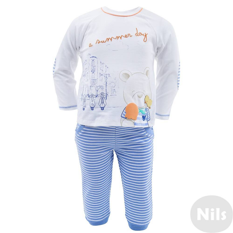 2 комплектаДва комплекта футболка + брюки марки MAYORAL для мальчиков. Оба комплекта выполнены из мягкого хлопкового трикотажа. Футболки с длинным рукавом украшены принтами и аппликацией с мишками. Футболка в полоску застегивается на кнопки на плечах, белая футболка застегивается на спинке. Брючки с декоративными карманами имеют пояс на эластичной резинке, а также манжеты на штанинах.<br><br>Размер: 9 месяцев<br>Цвет: Голубой<br>Рост: 74<br>Пол: Для мальчика<br>Артикул: 609145<br>Страна производитель: Китай<br>Сезон: Всесезонный<br>Состав: 95% Хлопок, 5% Эластан<br>Бренд: Испания<br>Вид застежки: Кнопки