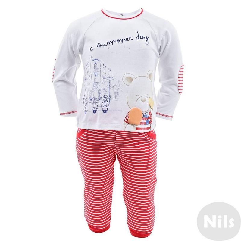 2 комплектаДва комплекта футболка + брюки марки MAYORAL для малышей. Оба комплекта выполнены из мягкого хлопкового трикотажа. Футболки с длинным рукавом украшены принтами и аппликацией с мишками. Футболка в полоску застегивается на кнопки на плечах, белая футболка застегивается на спинке. Брючки с декоративными карманами имеют пояс на эластичной резинке, а также манжеты на штанинах.<br><br>Размер: 3 месяца<br>Цвет: Красный<br>Рост: 62<br>Пол: Для девочки<br>Артикул: 609726<br>Страна производитель: Россия<br>Сезон: Весна/Лето<br>Состав: 95% Хлопок, 5% Эластан<br>Бренд: Россия<br>Вид застежки: Кнопки