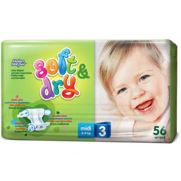 Гигиена, Подгузники Soft & Dry midi 4-9 кг 56 шт Helen Harper 415228, фото